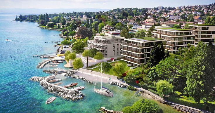 DOMAINE DE CHAMBLANDES  Luxury Lakefront Apartments on the bank of Lake Geneva  The Chamblandes estate is an exceptional residence implanted in a leafy environment on the bank of Lake Geneva.  The contemporary architecture of the buildings confers on the latter assertive character and presence.  These exceptional apartments are bathed in permanent light because of their large plate windows.  Beach, private harbour, indoor swimming pool, a spa, fitness room