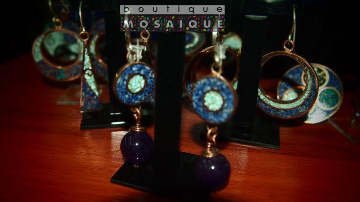 mas aritos en cobre y gancho de plata, muchos diseños mas puedes encontrar en Mosaiqui, ubicada en el subterraneo de la  Galeria Pierre Loti del Cerro Concepción de Valparaiso