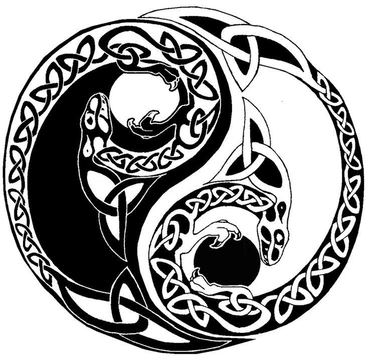 Celtic yin yang dragons by FullmetalDevil.deviantart.com on @deviantART