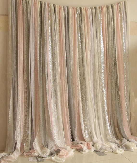 Pink Gray White Lace Fabric Silver Sparkle Photobooth Backdrop