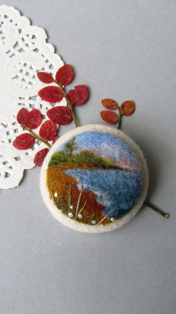 Hey, I found this really awesome Etsy listing at https://www.etsy.com/listing/213972085/needle-felted-brooch-with-a-landscape