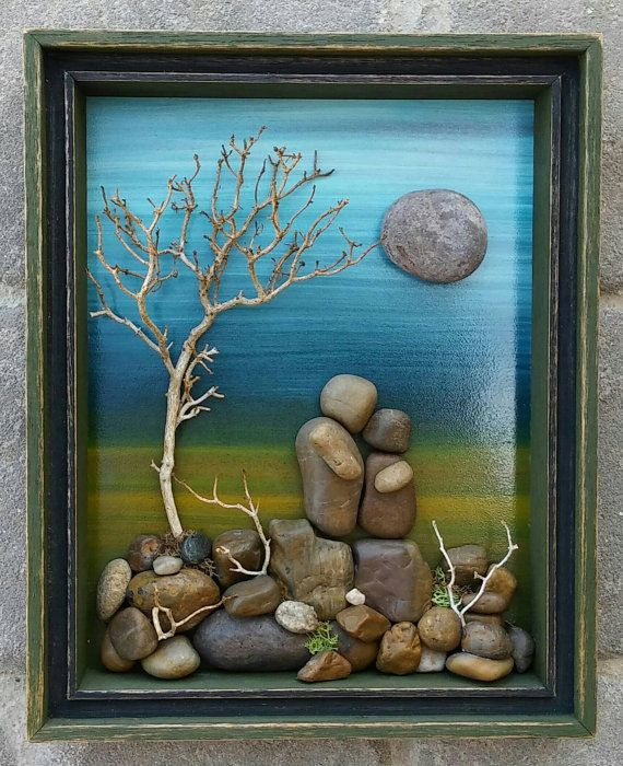 """Pebble Art Couple on a beautiful hand painted woodsy background, set in an """"open"""" 9x10.5x2 double layered wood shadow box (FREE SHIPPING)"""