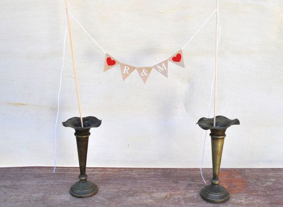 YOUR INITIALS CUSTOM Cake Topper Traditional Bunting Banner wedding engagement baby shower birthday party neutral beige fabric rustic