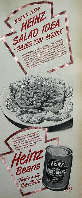 Heinz Beans ad with bean salad recipe    Country Gentleman - February 1949