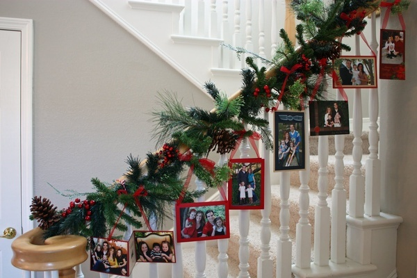 Great Idea: Display your familys past Christmas card photos with a Photo Garland. Love this idea! Wish I would have kept my past cards....