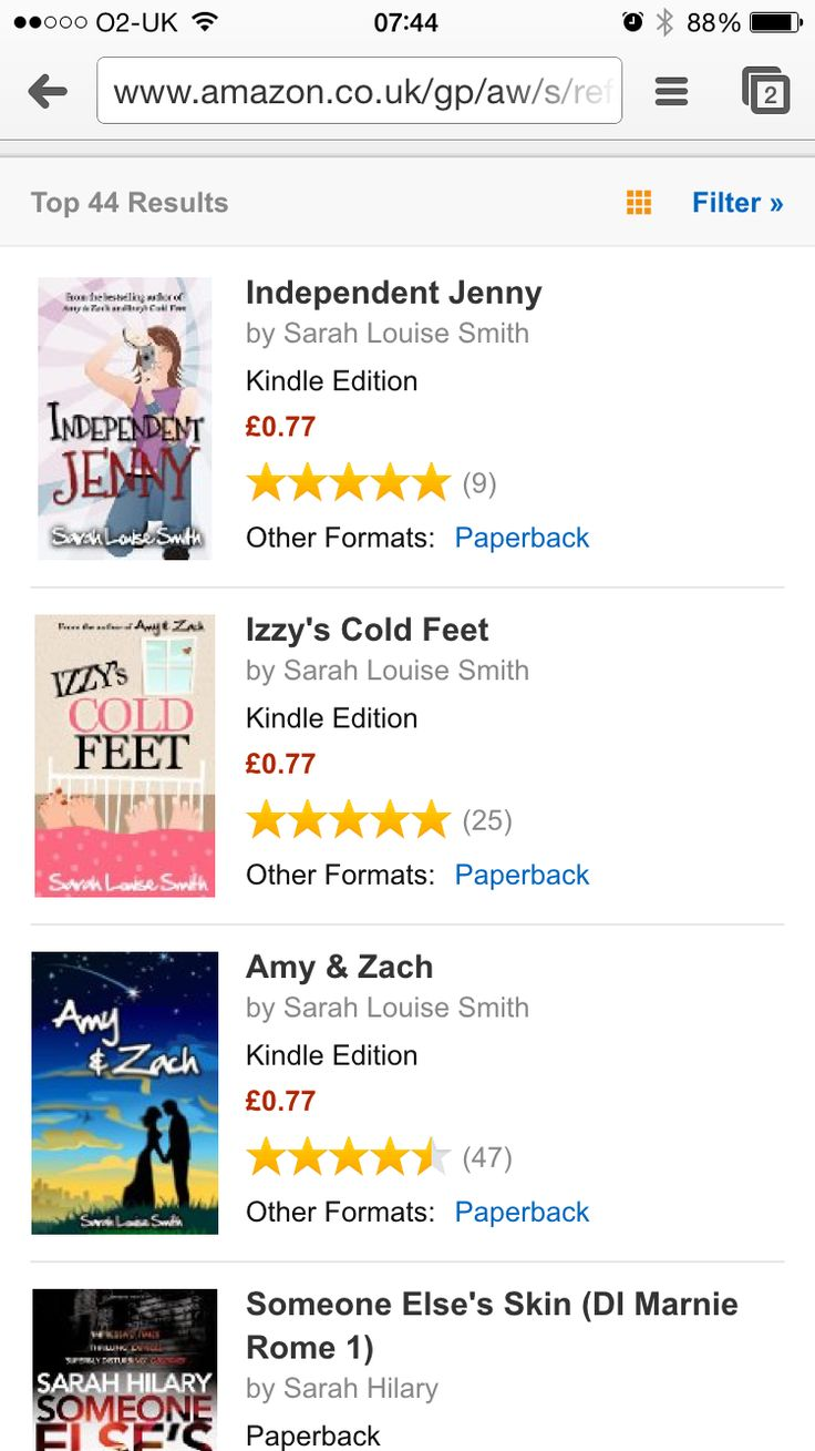 The Kindle versions of my books are on sale for only 77p/99¢ for a limited time only. Get yourself a #chicklit bargain! Please share! http://www.amazon.co.uk/gp/aw/s/ref=is_s_ss_i_5_11?ie=UTF8&k=sarah+louise+smith&sprefix=sarah+louIs