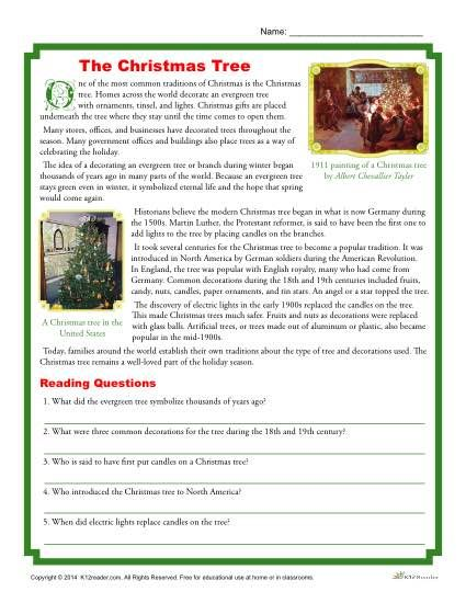 Free, Printable Christmas Reading Activity - Christmas Tree History. Do you know the history of the Christmas tree? In this fun and informative activity, students read about the history of the Christmas tree and answer questions.