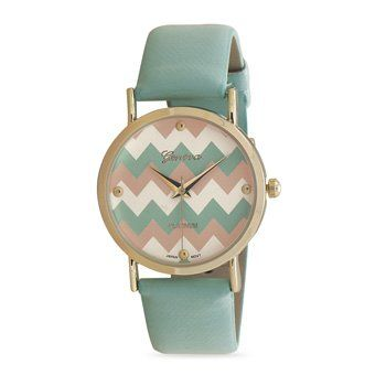 This brand new Geneva watch is a mint green fashion watch that adjusts to fit 6.75  - 8.5  in length. The round face has a mint green, peach and white