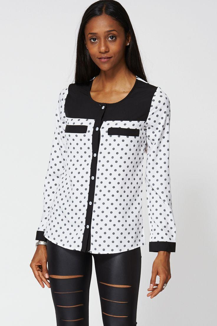 Black And White Polka Dot Shirt Ex-Branded £14.99