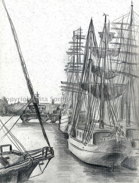 Sailing boats Pencil Drawing Ships Nautical by ...