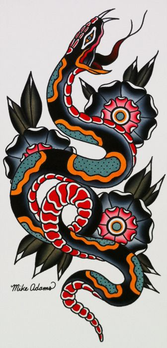 Mike Adams Snake Flash | KYSA #ink #tattooflash #tattoo