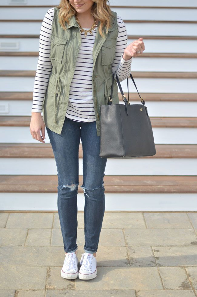 cute casual outfit - striped tee, cargo vest, distressed skinny jeans | www. - Best 20+ Skinny Jean Outfits Ideas On Pinterest Fasion, Fashion