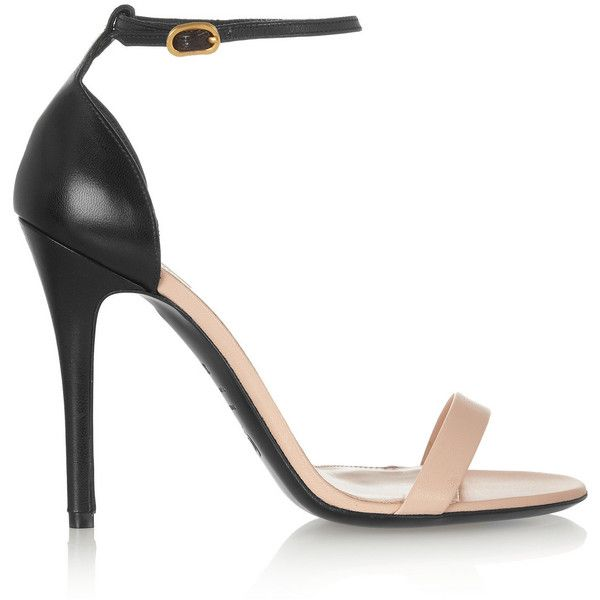 Alexander McQueen Two-tone leather sandals (67.795 HUF) ❤ liked on Polyvore featuring shoes, sandals, heels, high heels, alexander mcqueen, neutral, high heeled footwear, black strappy sandals, black heeled sandals and leather strap sandals