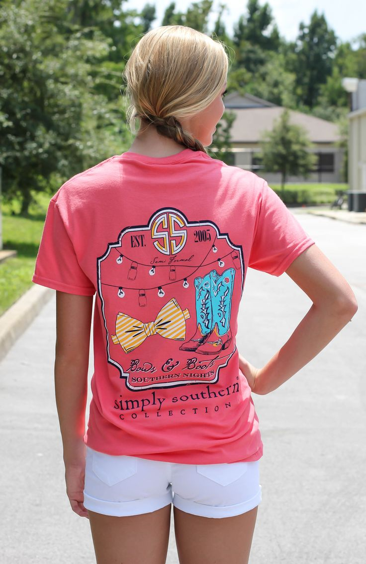"Simply Southern is a preppy T-shirt collection.  This coral tee features a screen print of ""bows and boots, southern nights"" printed on back. Model is 5'9"" wearing a small. 100% Cotton PRESHRUNK  U..."