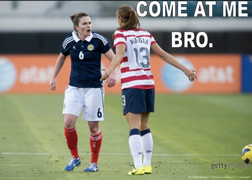 Things getting heated between Alex Morgan and a Scottish player