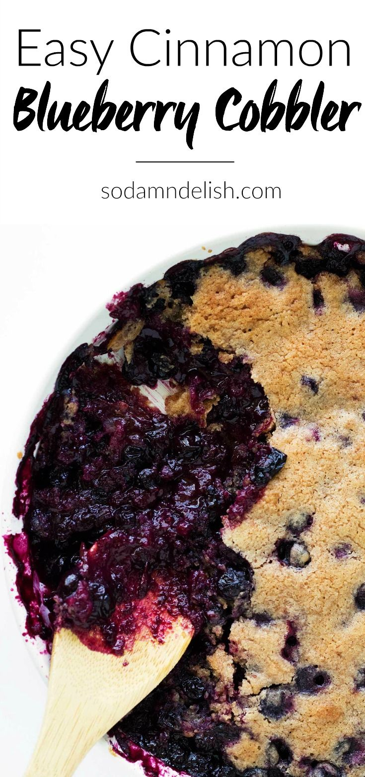 This easy cinnamon blueberry cobbler is bursting with blueberries and cinnamon and topped with an easy cobbler batter that bakes to perfection!