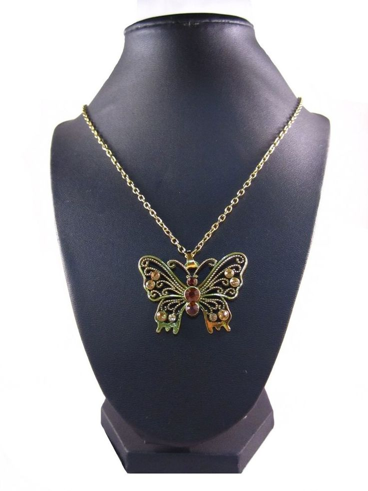 Steel Yellow Tone Fashion Butterfly Necklace Orange 22 inch Multi-Color Fall  #Pendant