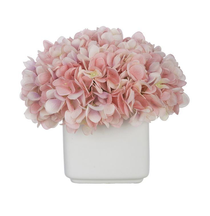 Artificial Hydrangea in Small White Cube Ceramic