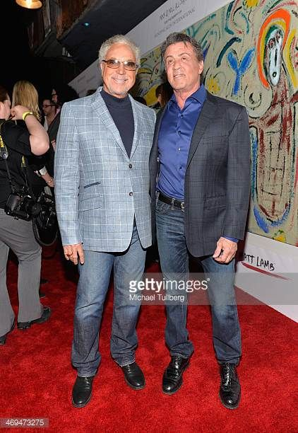 Singer Tom Jones and actor Sylvester Stallone attend the Mending Kids International's 'Rock Roll AllStars' Fundraising Event on February 14 2014 in...