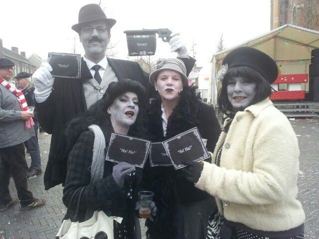 Group costume idea. Black and white movie artists. Carnaval.