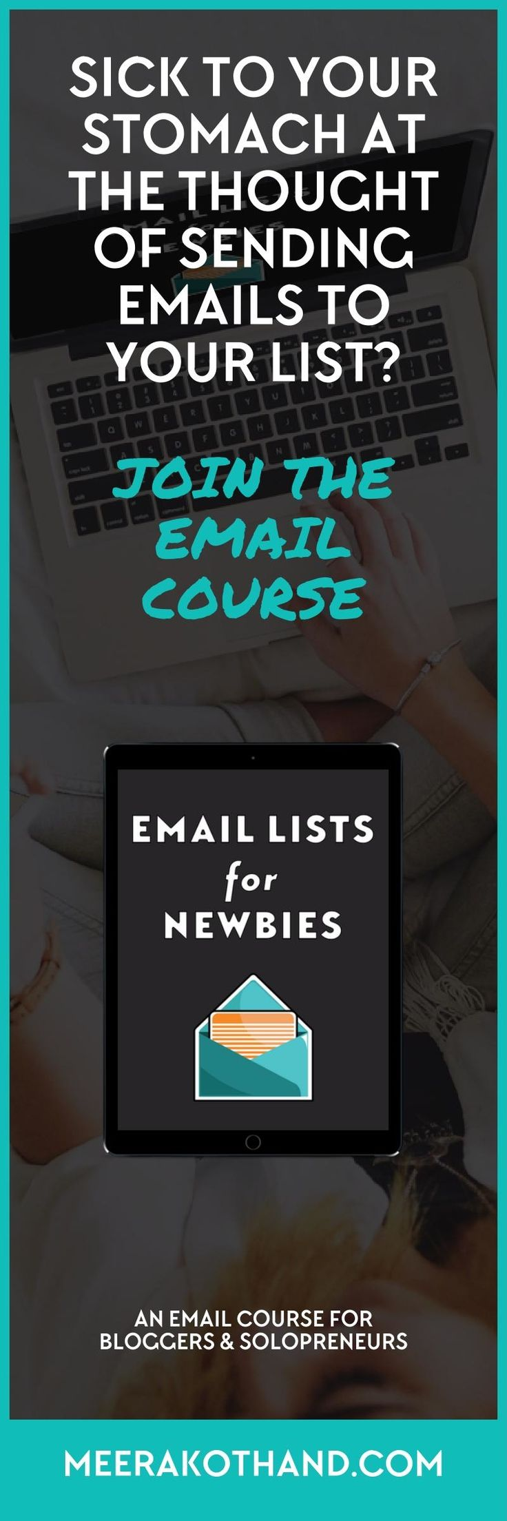 Are you sick to your stomach at the thought of sending emails to your list? You want to get serious about email but you're not sure where to start? Email Lists for Newbies is an email course for bloggers and solopreneurs to get started with email lists even if you have a tiny list or have not sent a single email.