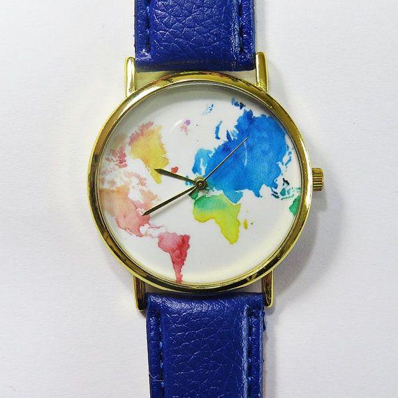 Colored Map  Watch , World Map watch , Wrist Watch Vintage Style Leather Watch, Women Watches, Unisex Watch, Boyfriend Watch,…
