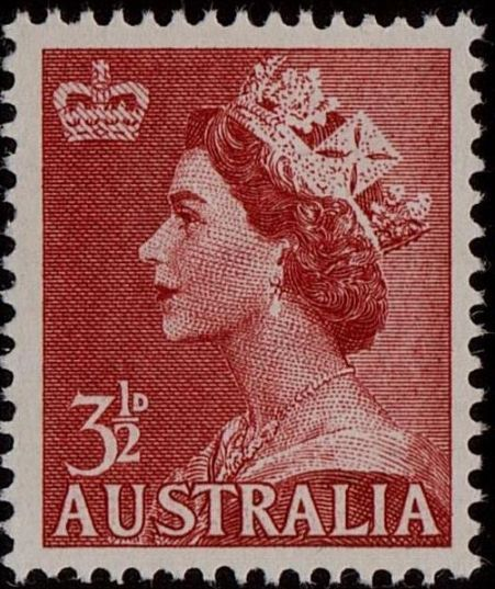 ACSC 297B) 1956. Queen Elizabeth II. 3½d. Perforation 15 x 14. No watermark. Bright Carmine-Red