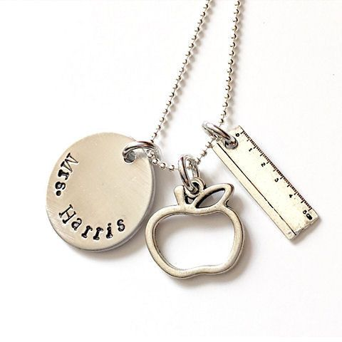 Personalized Teacher Gift, Name Necklace with Apple