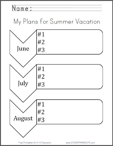 Summer Vacation Worksheets : My plans for summer vacation free printable worksheet