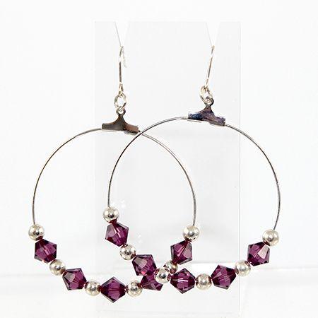 Hoop Earrings - Silver & Swarovski Amethyst Crystal
