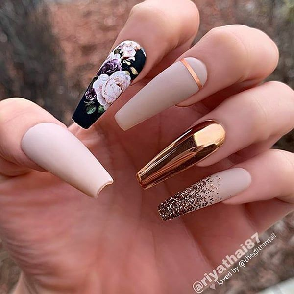 ✨✨✨✨✨ Matte Nude-Beige, Flower Decal, Bronze Chrome y Glitter Fade o …