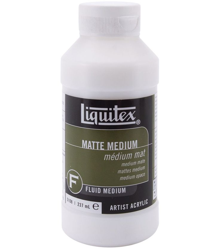 Liquitex Matte Medium creates a matte, non-reflective finish and dries translucent, permanent, non-yellowing, and water resistant. Mix it with any acrylic color or Liquitex mediums or thin by adding u