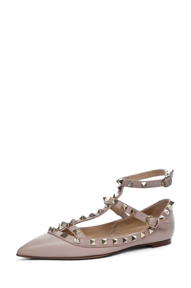 Valentino Rockstud Leather Ballerinas in Powder