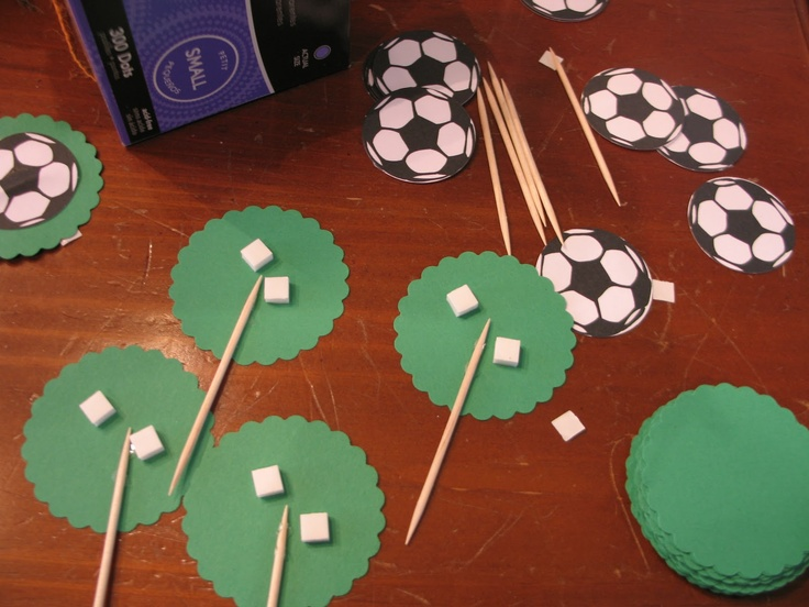Cute idea for soccer or any sports cupcakes