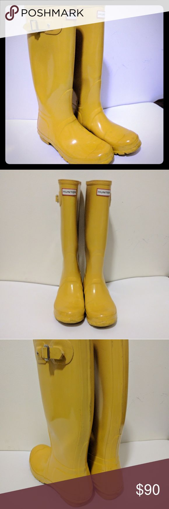 Hunter Original Tall Gloss Rain Boots Yellow Used pair of excellent Hunter boots. They are still in great shape and have a long life ahead in many puddles, do please note the scuff marks on the inner ankle. These brightened many a dreary Chicago winter's day, hope they can brightened up yours as well! Hunter Boots Shoes Winter & Rain Boots