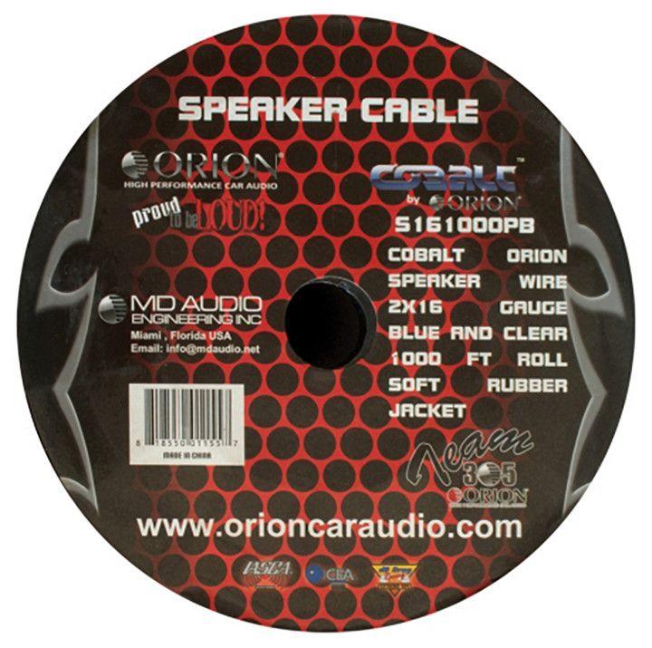 Cobalt Orion Speaker Wire 16 Gauge Blue/Clear 1000ft | Wire ...