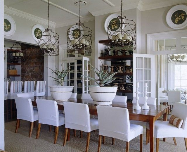 South African Home By John Jacob Interiors LOVE The White Slipcovered Chairs With Light Wood Color Table
