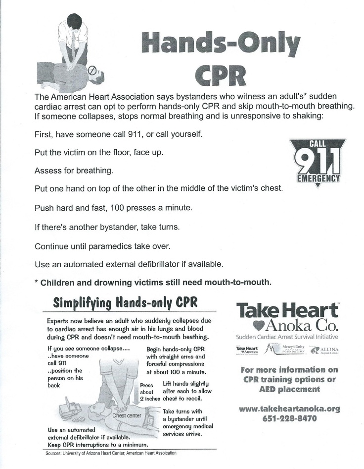 Hands Only CPR First aid Pinterest