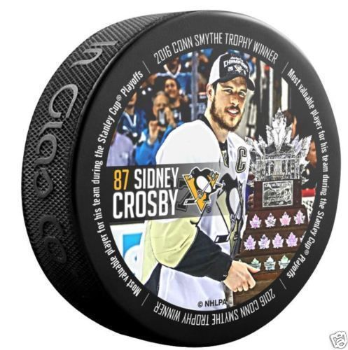 SIDNEY CROSBY Conn Smythe Trophy Winner Penguins 2016 Stanley Cup Playoffs PUCK #InGlasCo #PittsburghPenguins