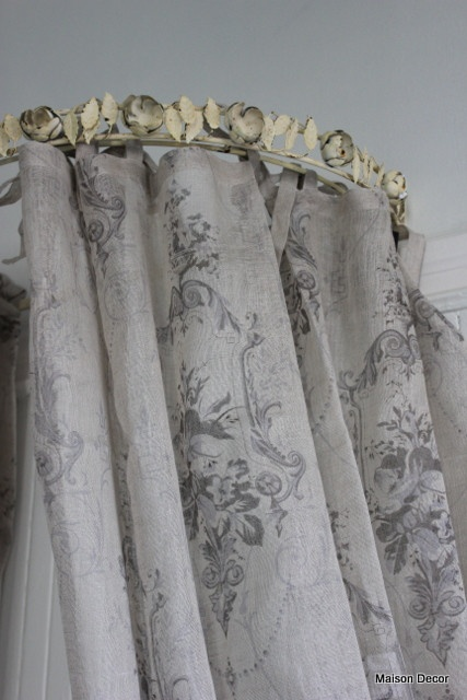 """linen panel is semi-sheer with a printed damask and floral scroll pattern in shades of taupe and grey. It has a tie top header and the size is generous~102.25"""" long x 56"""" wide. Very soft to the hand and drapes wonderfully!"""
