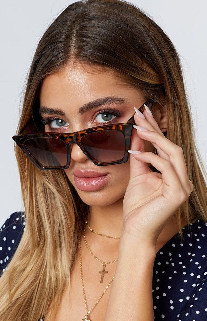 Chunky Brown Floral Print Retro Vintage Style Womens Cat Eye Sunglasses Shades