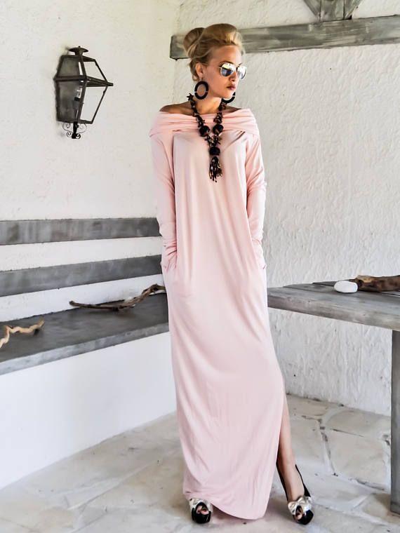 Maxi Langarm Rollkragen Kleid mit Taschen Rosa / Pink Kaftan /