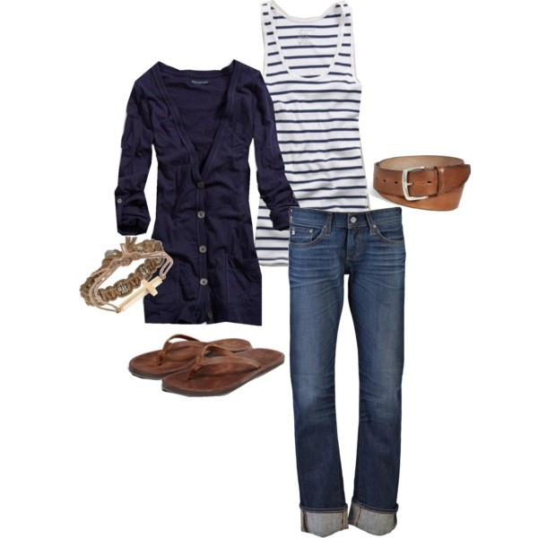 Cute everyday outfit: Striped Tank, Casual Outfit, Nautical Outfit, Navy Outfit, Outfit Ideas, Fashion Style, Style Pinboard, Everyday Outfit