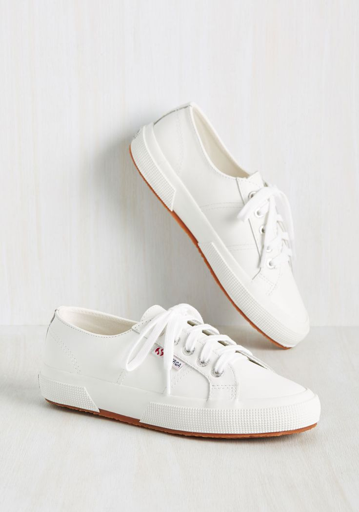 Mobile Ladies Sneaker. Doff your gown and get going in these leather sneakers from Superga! #white #modcloth