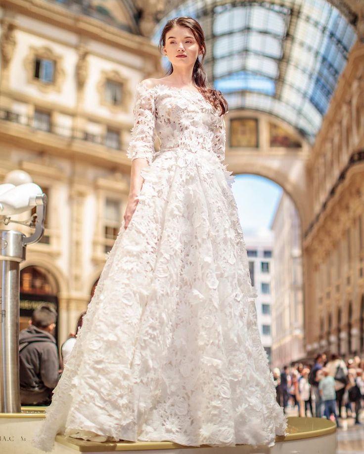 Trend Alert! We are loving 3D Florals this season, as seen on this gorgeous Gemy Maalouf gown.   WedLuxe Magazine   #wedding #luxury #weddinginspiration #luxurywedding #bridal #fashion #weddingdress #weddinggown