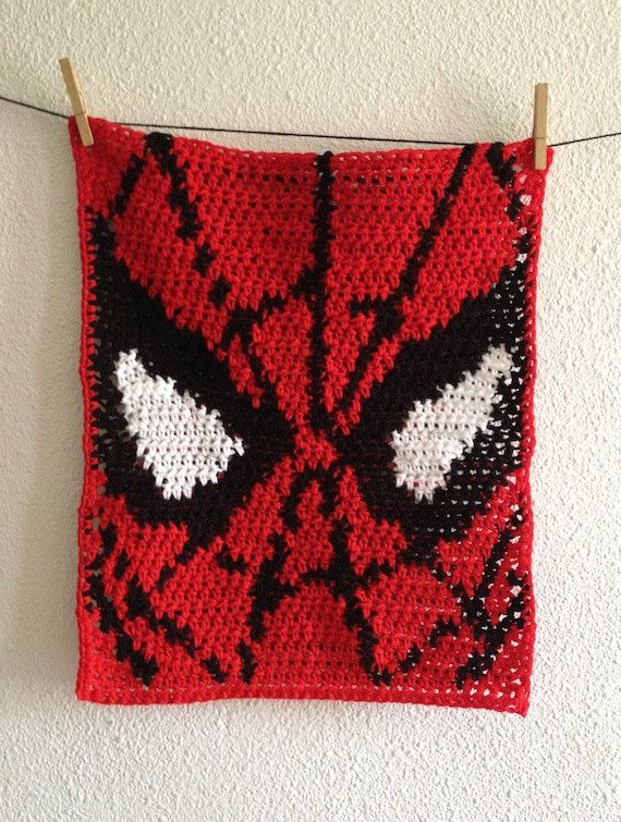 Baby Spiderman Blanket, Crochet Spiderman Security Blanket, Baby Afghan/Lapghan from Exclusive Productions on #Etsy