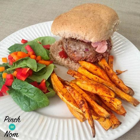 I know what you're thinking. There is no way that bacon cheese burgers are allowed on Slimming World… Well, you are wrong! These Syn Free Melt-in-the-middle Bacon Cheese Burgers are exactly as described….. 100% SYN FREE and bloody spanking. Perfect for comfort food on a winter night or great to take to a BBQ in…