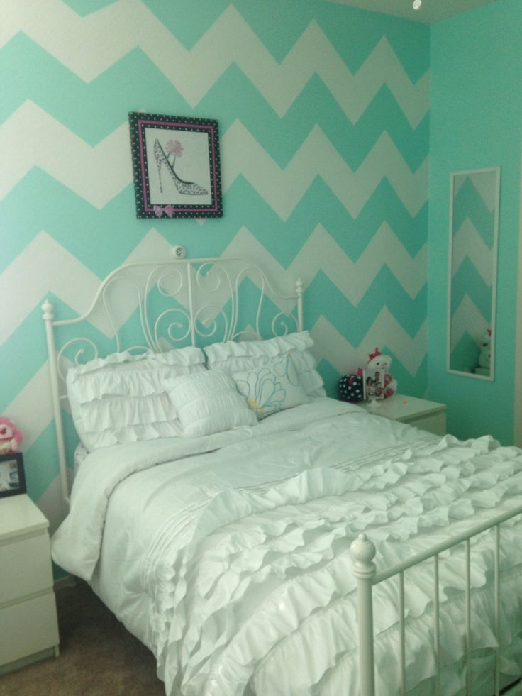 This Is The Color Quin Wants  Maybe Slighly More Blue. Tiffany Green Chevron  Bedroom Part 78