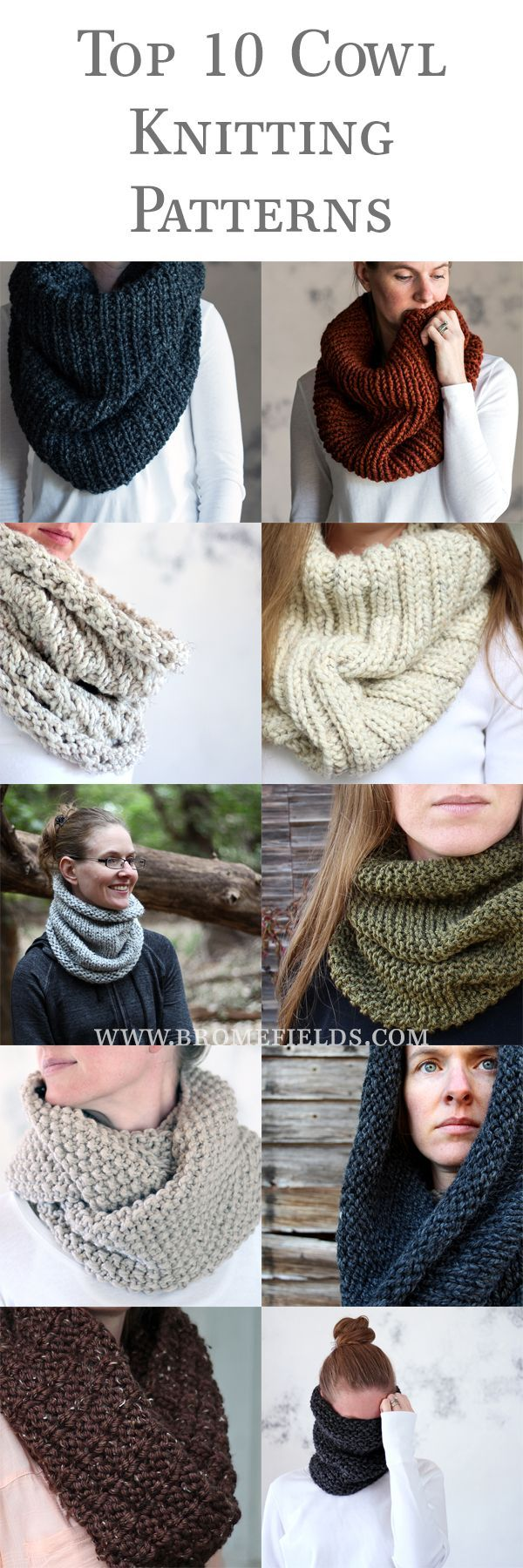 Top 10 Cowl Knitting Patterns by Brome Fields. For more Free knitting ideas, head to http://www.sewinlove.com.au/category/knitting/