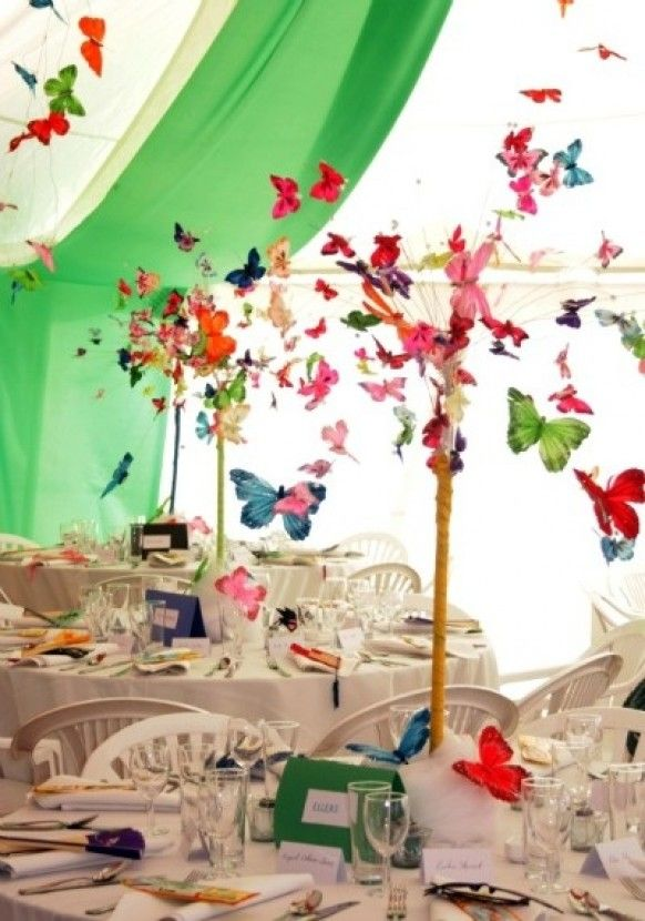 www.weddbook.com everything about wedding ♥ Beautiful Wedding Decor With Colorful 3d Butterflies #weddbook #wedding #decor #butterfly
